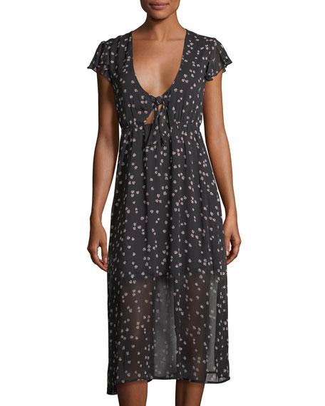 Love, Fire Tie-Front Floral-Print Dress