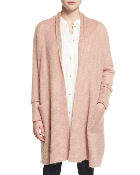 Eileen Fisher Washed Mohair-Blend Shawl Cardigan, Aztec Pink