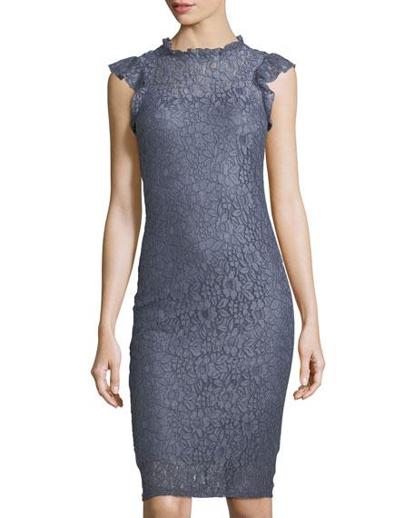 Lace Mock-Neck Sleeveless Dress
