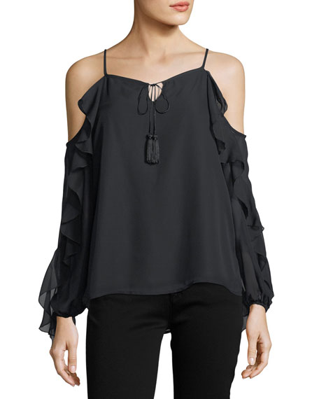 Ruffled-Sleeve Cold-Shoulder Blouse