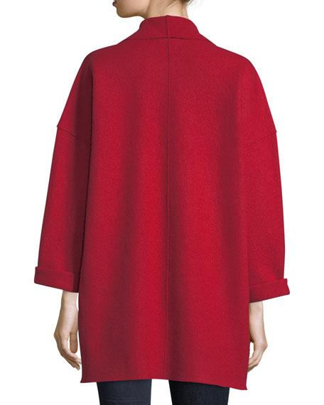 Boiled Wool Shawl-Collar Kimono Jacket