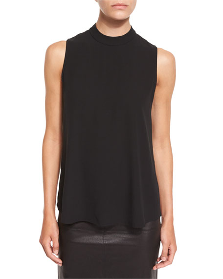 Eileen Fisher High-Neck Silk Georgette Tank, Black