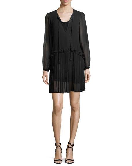 Rebecca Minkoff Morrison Split-Neck Chiffon Mini Dress