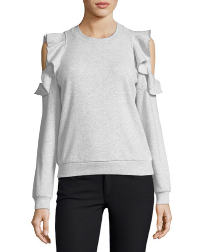 Gracie Crewneck Cold-Shoulder Cotton Sweatshirt