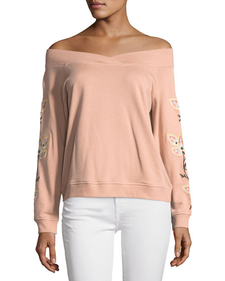 Macey Off-the-Shoulder Embroidered Sweatshirt