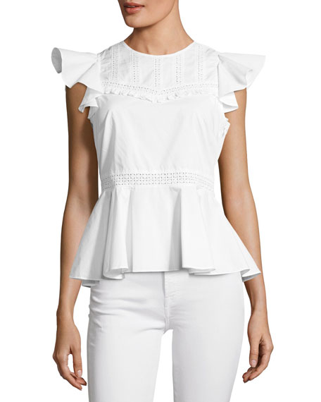 Rebecca Minkoff Betty Embroidered Poplin Top w/ Ruffled