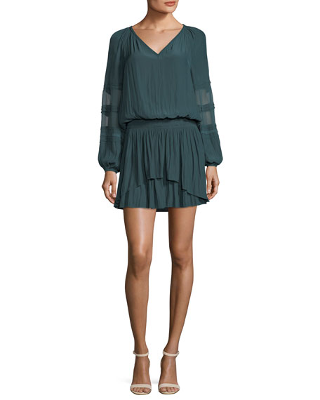 Ramy Brook Aidan V-Neck Long-Sleeve Silk Dress