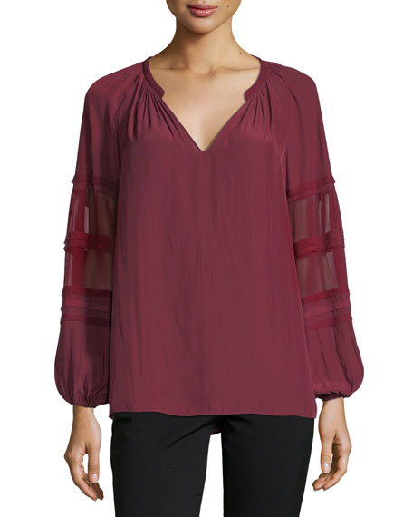 Ramy Brook Rae V-Neck Sheer Long-Sleeves Top
