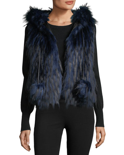 Hollie Hooded Faux-Fur Vest