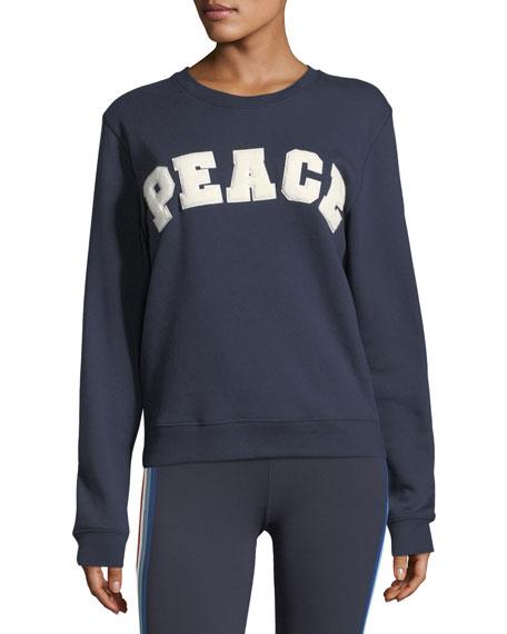 Tory Sport Peace Letterman Crewneck Cotton Sweatshirt