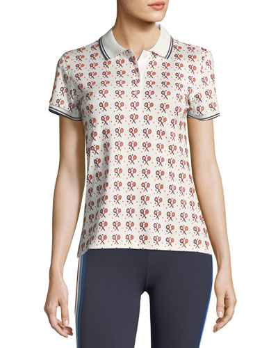 Flocked Short-Sleeve Printed Polo Shirt
