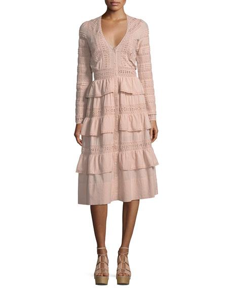 Loveshackfancy Rebecca Embroidered Cotton Midi Dress