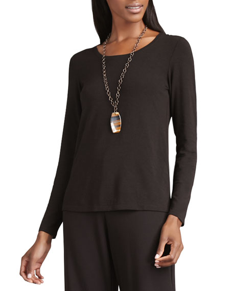 Long-Sleeve Slim-Jersey Tee, Chocolate, Petite