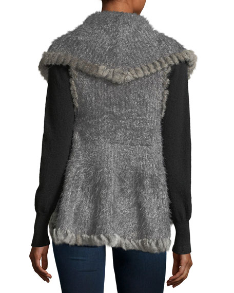 Fur-Trim Marled Vest