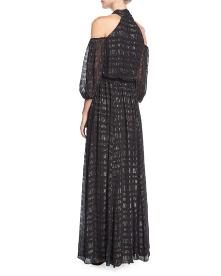 Laurel Cold-Shoulder Tie-Neck Evening Gown