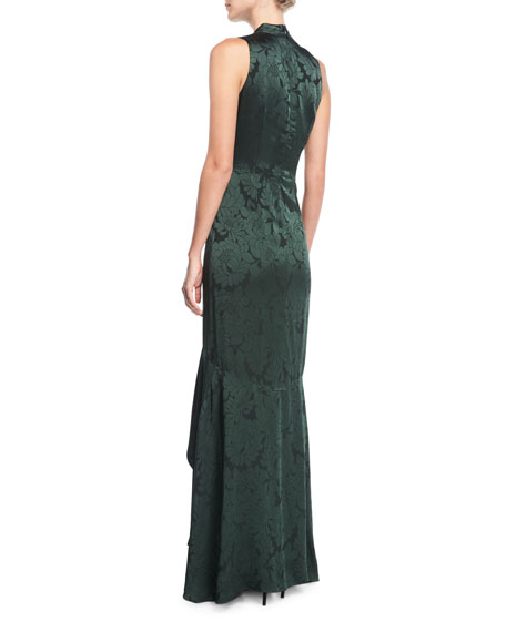 Mayburn Sleeveless Tie-Neck Floral Satin High-Low Gown