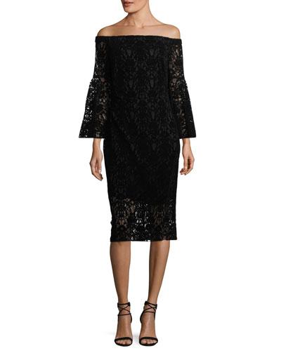 Najlah Off-the-Shoulder Velvet Lace Cocktail Dress