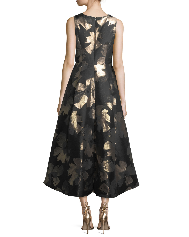 b0a3eb11fa70 Shoshanna Coraline Sleeveless Metallic Floral High-Low Evening Gown |  Neiman Marcus