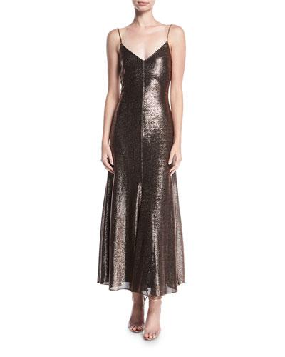 Metallic V-Neck Sleeveless Cocktail Slip Dress