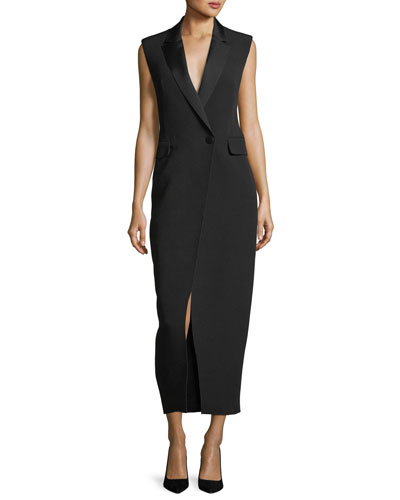 Abrietta Sleeveless Tuxedo Midi Cocktail Dress