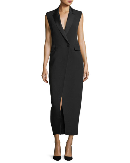 Abrietta Sleeveless Tuxedo Midi Cocktail Dress