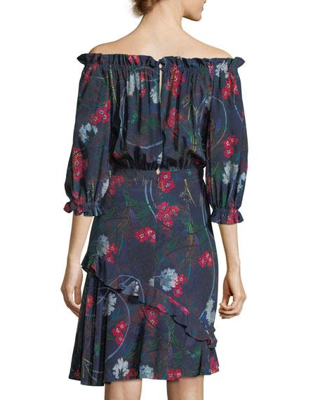 Grace Off-the-Shoulder Floral-Print Dress