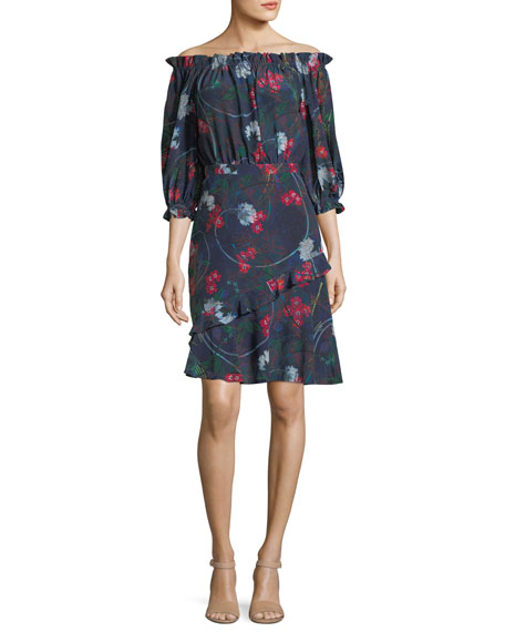Saloni Grace Off-the-Shoulder Floral-Print Dress