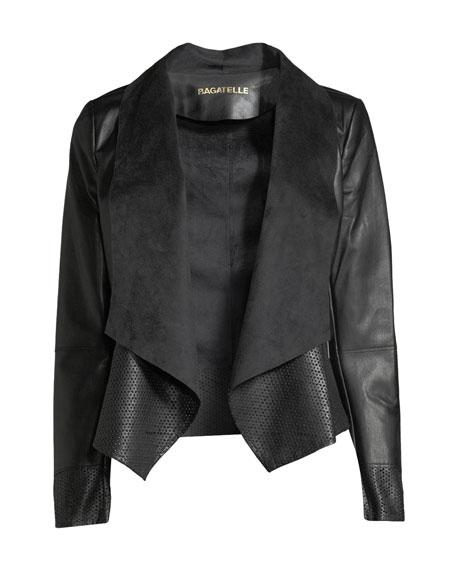 Vegan Leather Drape-Front Jacket