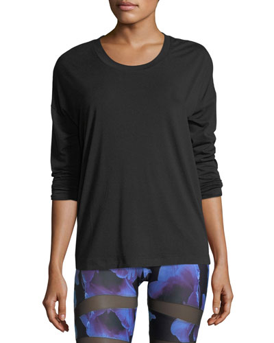 Braided-Back Long-Sleeve Crewneck Performance Top