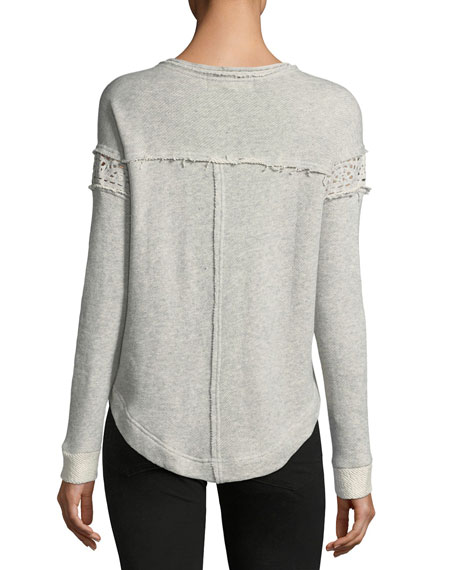 French Terry Crochet-Trim Sweater