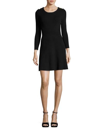 Kilim Round-Neck Long-Sleeve Rib-Knit Mini Dress