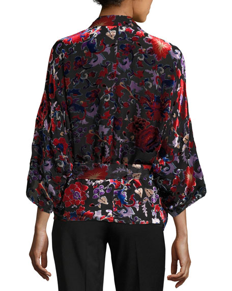 Dulce Velvet Burnout Kimono Topper