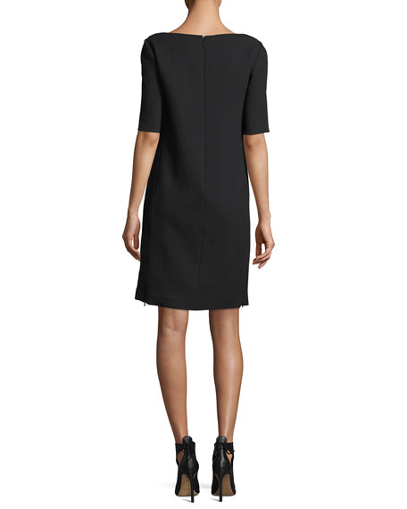 Cyra Square-Neck Wool Dress w/ Lace Insets