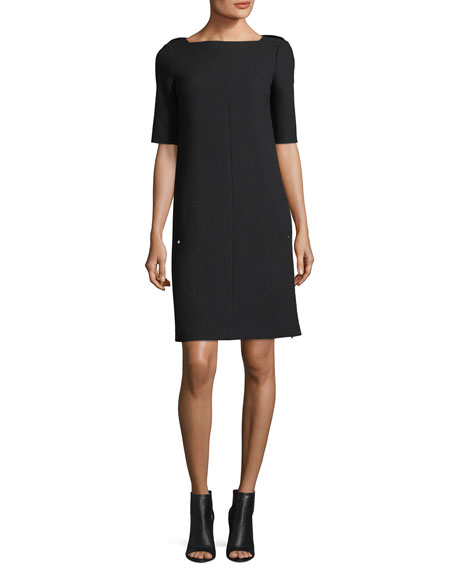 Lafayette 148 New York Cyra Square-Neck Wool Dress