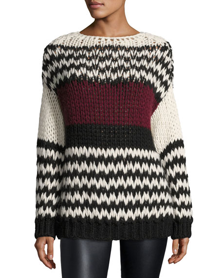 Bangs Long-Sleeve Oversized Cable-Knit Sweater