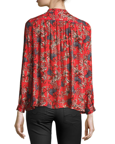 Edgy Floral-Print Button-Front Top