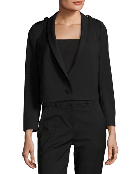 Tali One-Button Cropped Wool-Blend Blazer