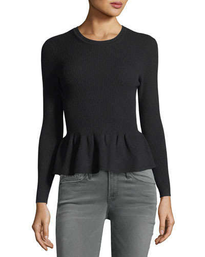 Kenn Crewneck Ribbed Peplum Sweater