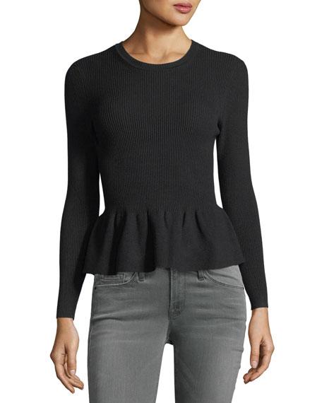 Kenn Crewneck Ribbed Peplum Sweater