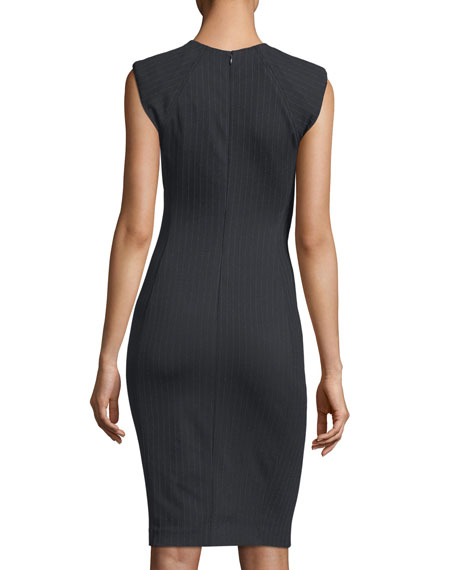 Bi-Stretch Pinstripe Crepe Power Dress