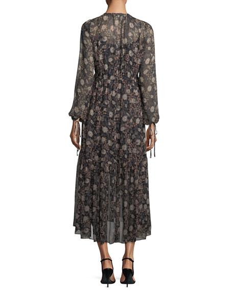 Tiered Floral-Print Peasant Chiffon Maxi Dress