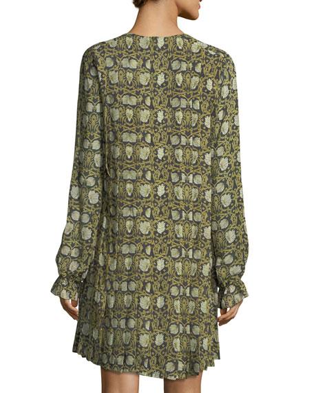 Floral-Print Pleated Chiffon Maxi Dress