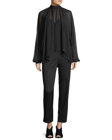 Dolman Sleeve Button-Back Silk Chiffon Top