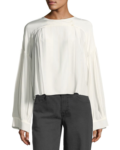 Round-Neck Long-Sleeve Pleated Silk Top