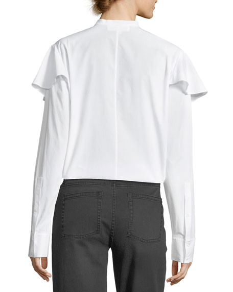 Mandarin-Collar Button-Front Poplin Shirt w/ Ruffled Trim