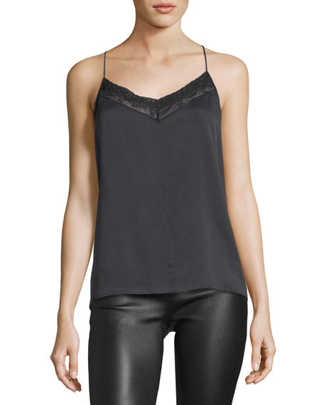 Robert Rodriguez V-Neck Crossover-Back Silk Top w/ Lace