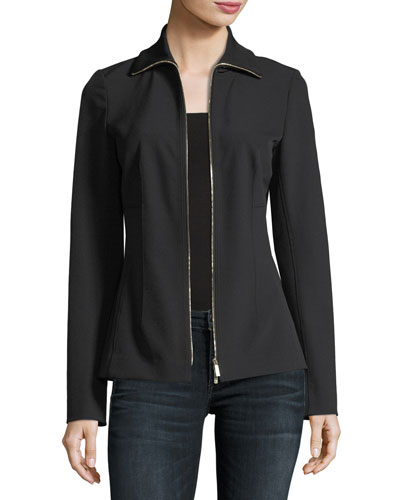 Turtleneck Zip-Front Stretch-Knit Jacket, Plus Size