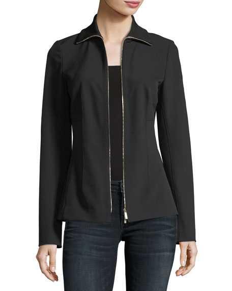 Lafayette 148 New York Turtleneck Zip-Front Stretch-Knit Jacket,