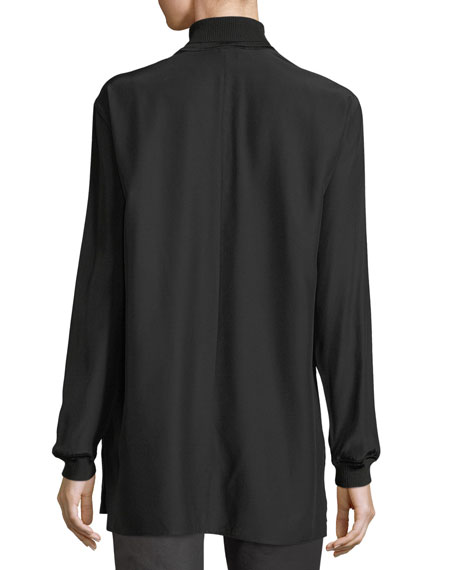 Daryn Long-Sleeve Silk Blouse w/ Knit Combo, Plus Size