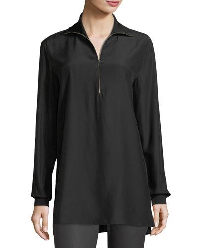 Daryn Long-Sleeve Silk Blouse w/ Knit Combo, Plus Size